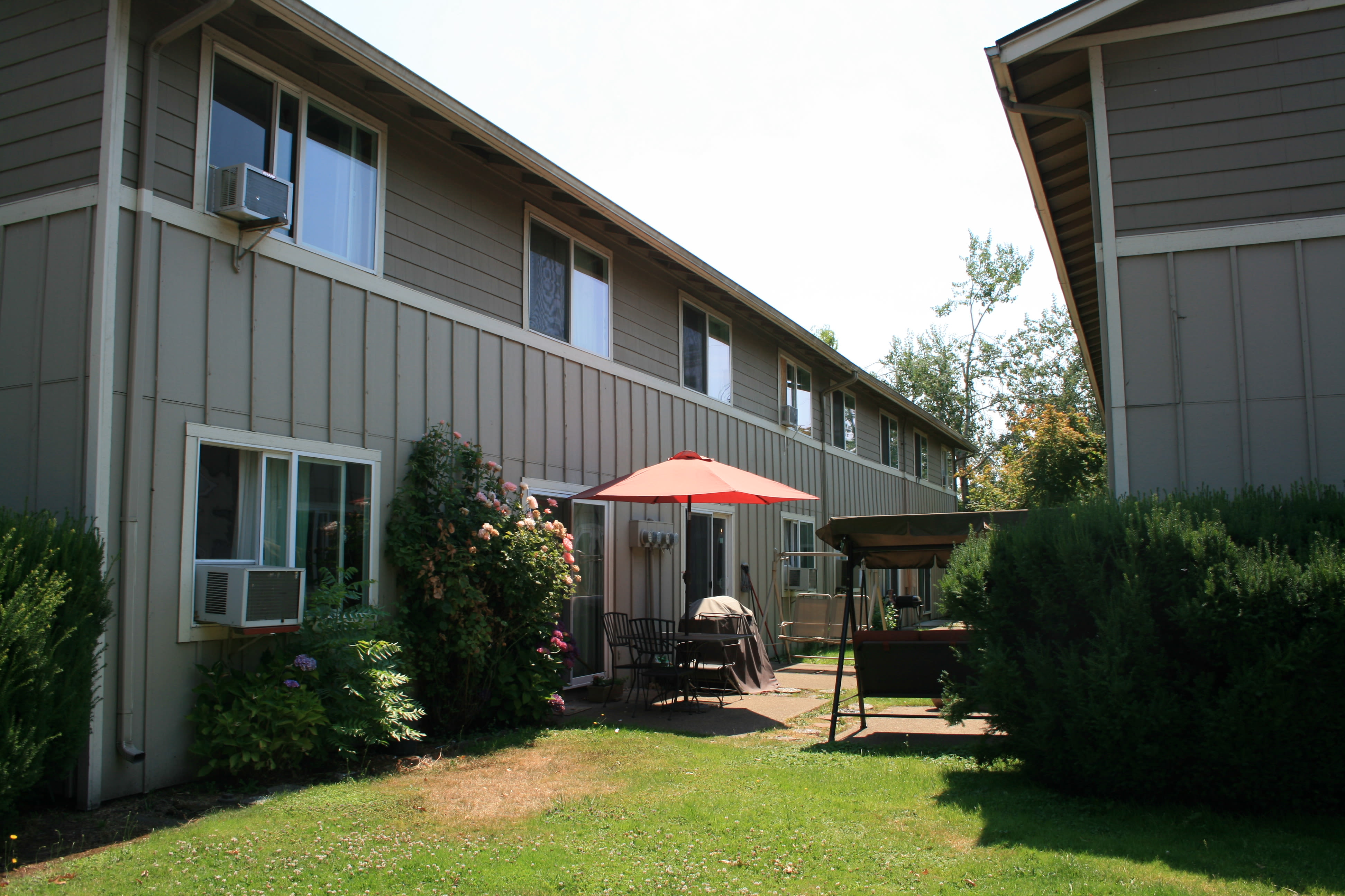 Patio at apartments in Springfield, Oregon