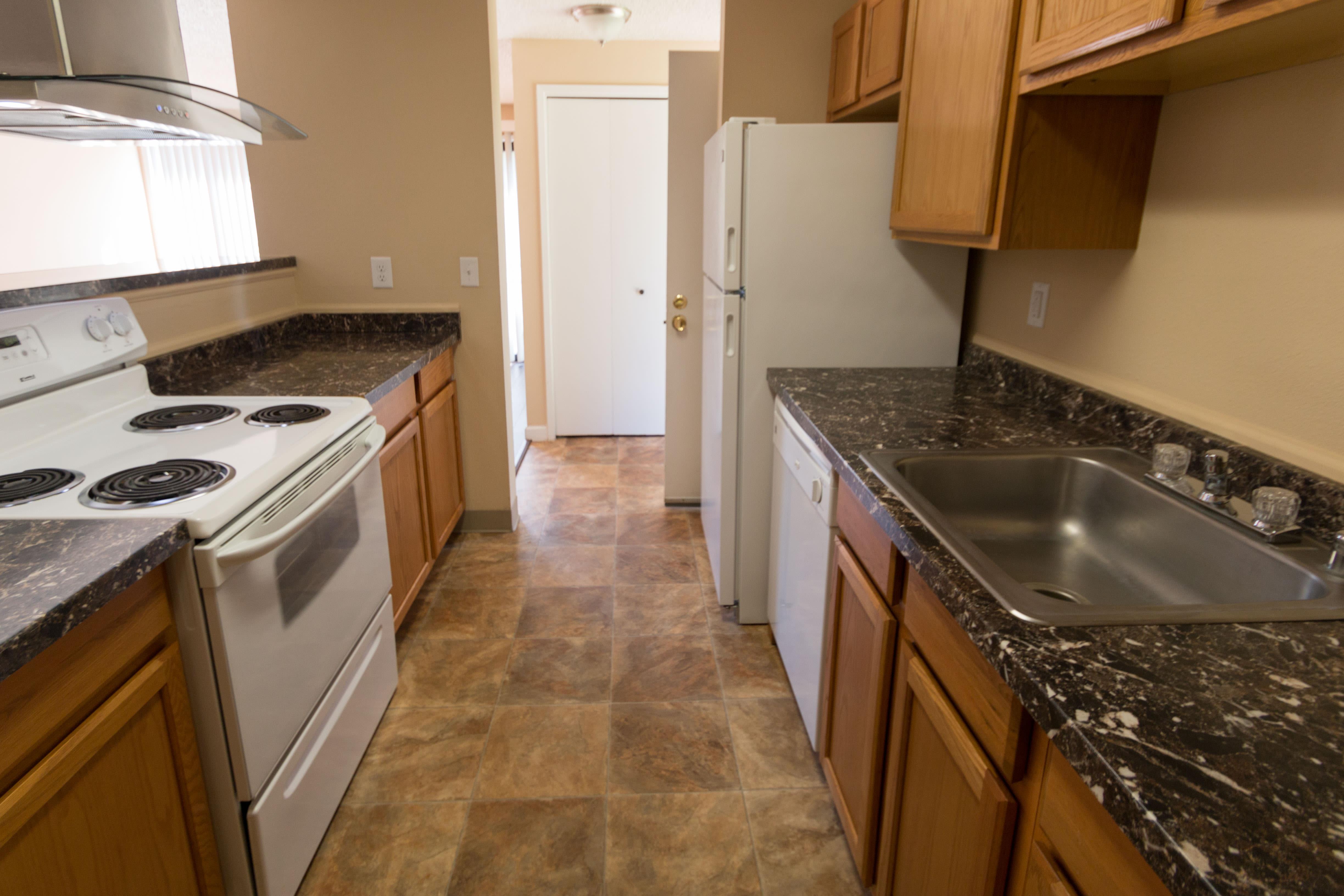 Modern kitchen at Oakbrook Apartments in Vancouver, Washington