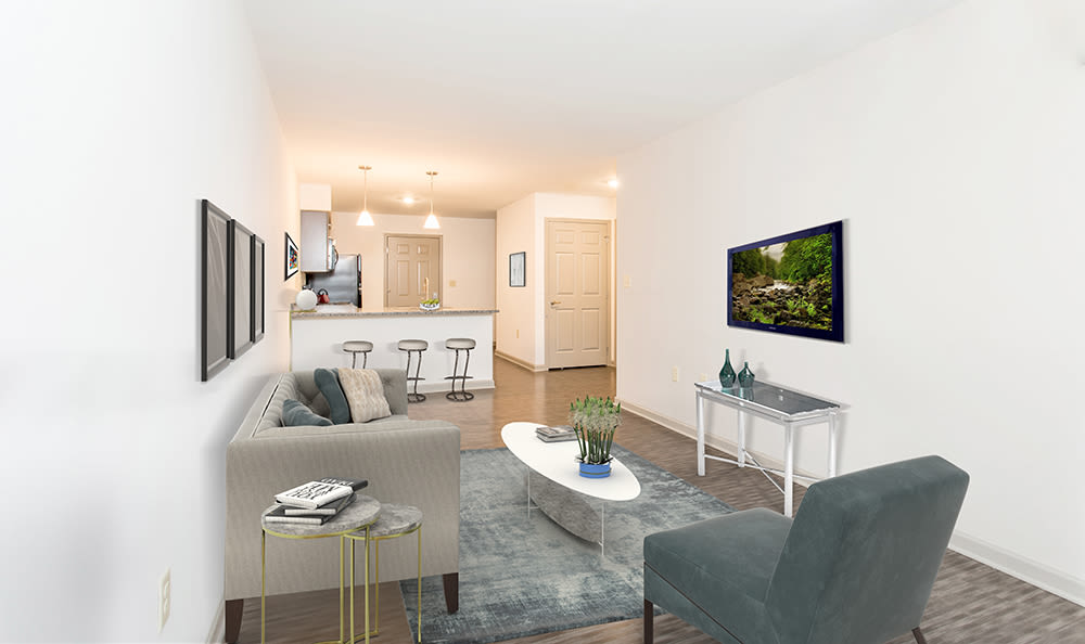 Modern living room at apartments in Rochester, New York