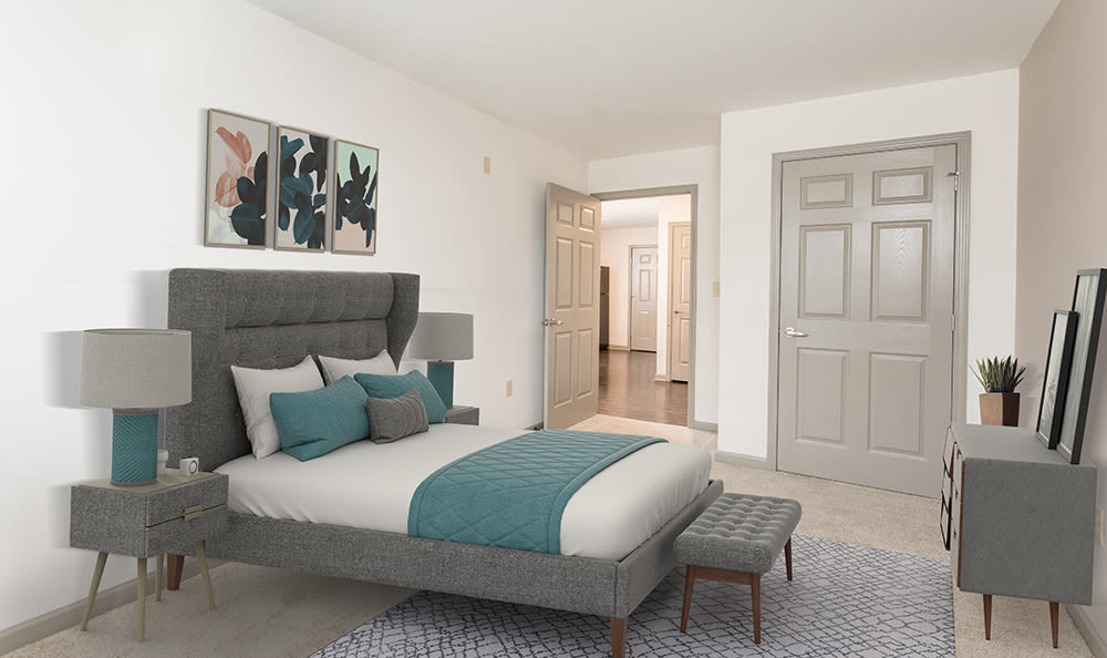 Luxury bedroom at apartments in Rochester, New York