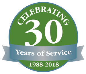 Celebrating 30 years of service logo