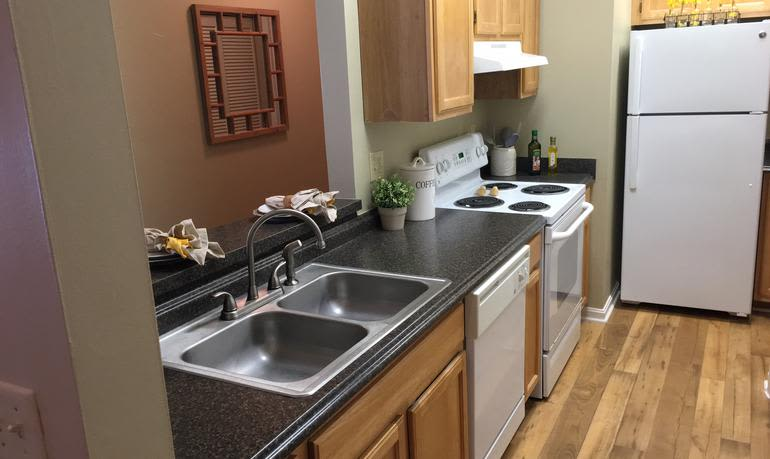Example kitchen at Mill Pond Village Apartments in Salisbury.