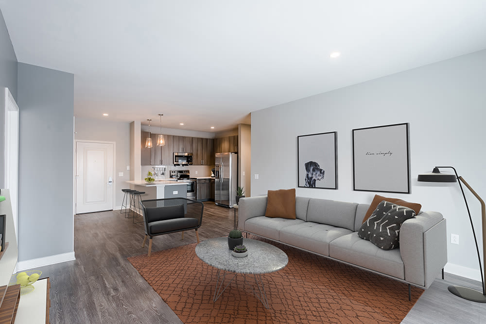 Luxury living room at Ellison Heights Apartments in Penfield