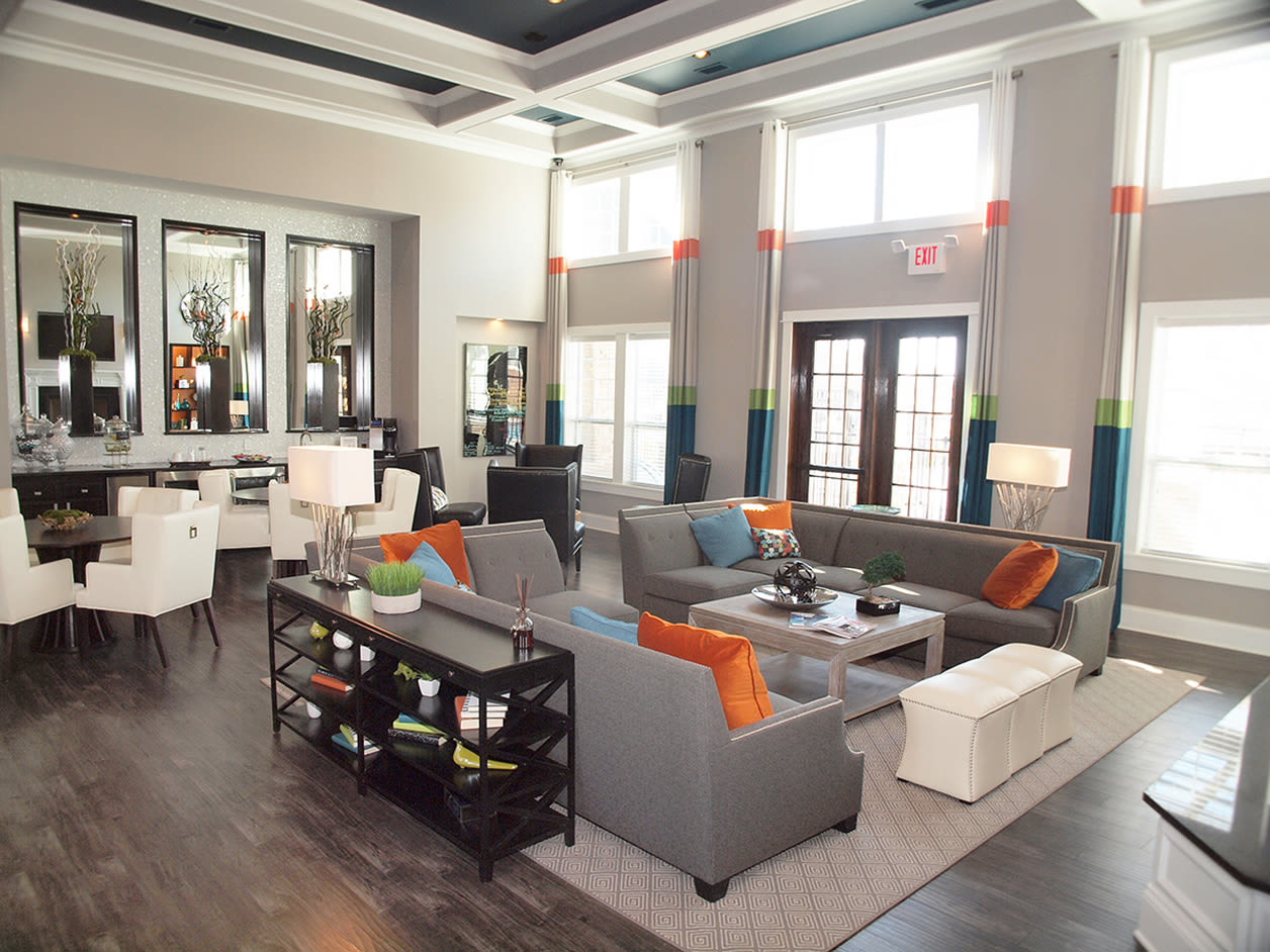 Spacious clubhouse featuring high ceilings and community space at Kendal on Taylorsville in Louisville, Kentucky