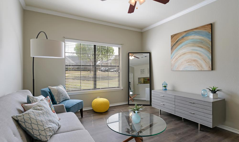 Comfy living room at apartments in Mansfield, TX