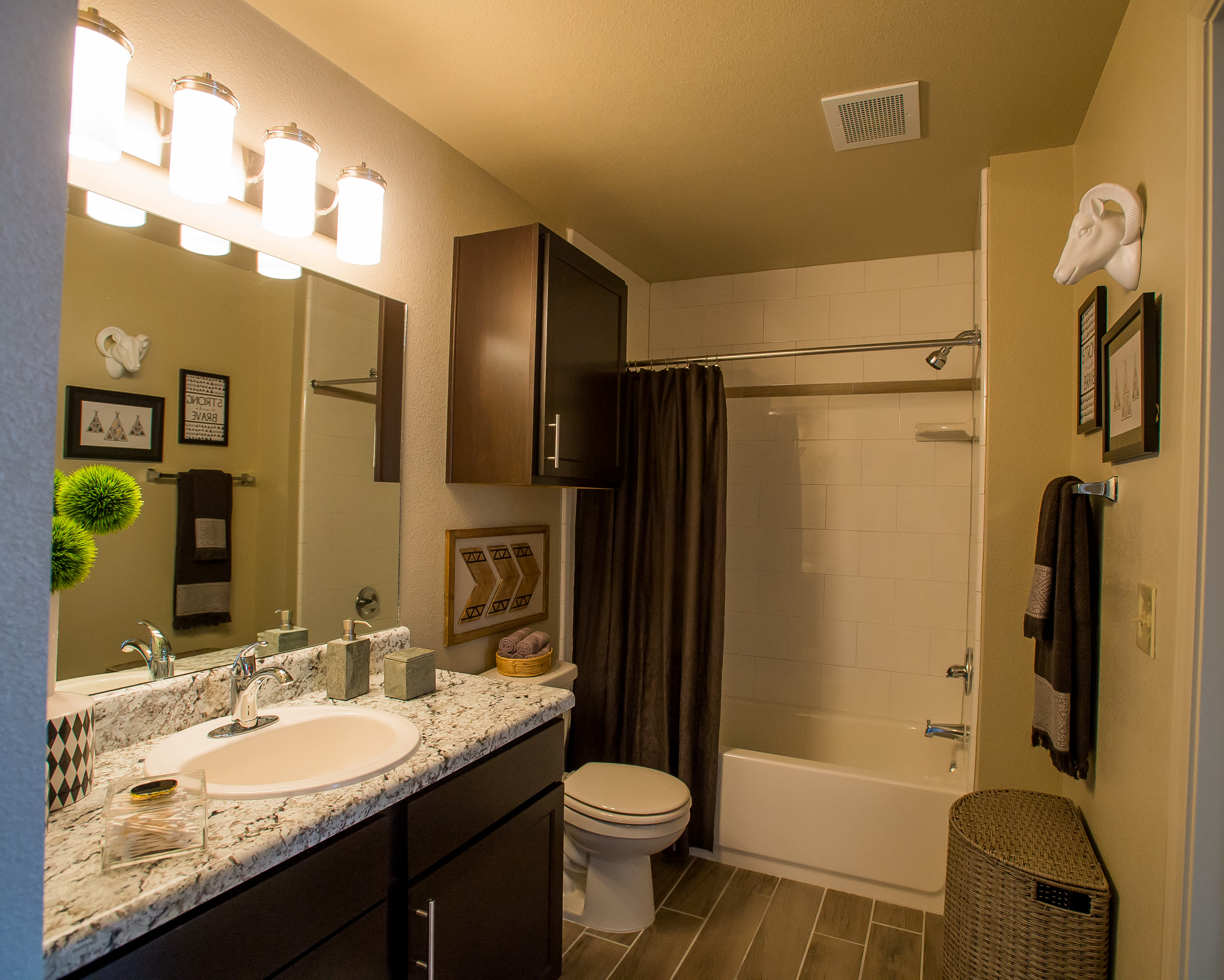 Bathroom at Portico at Friars Creek Apartments in Temple, Texas