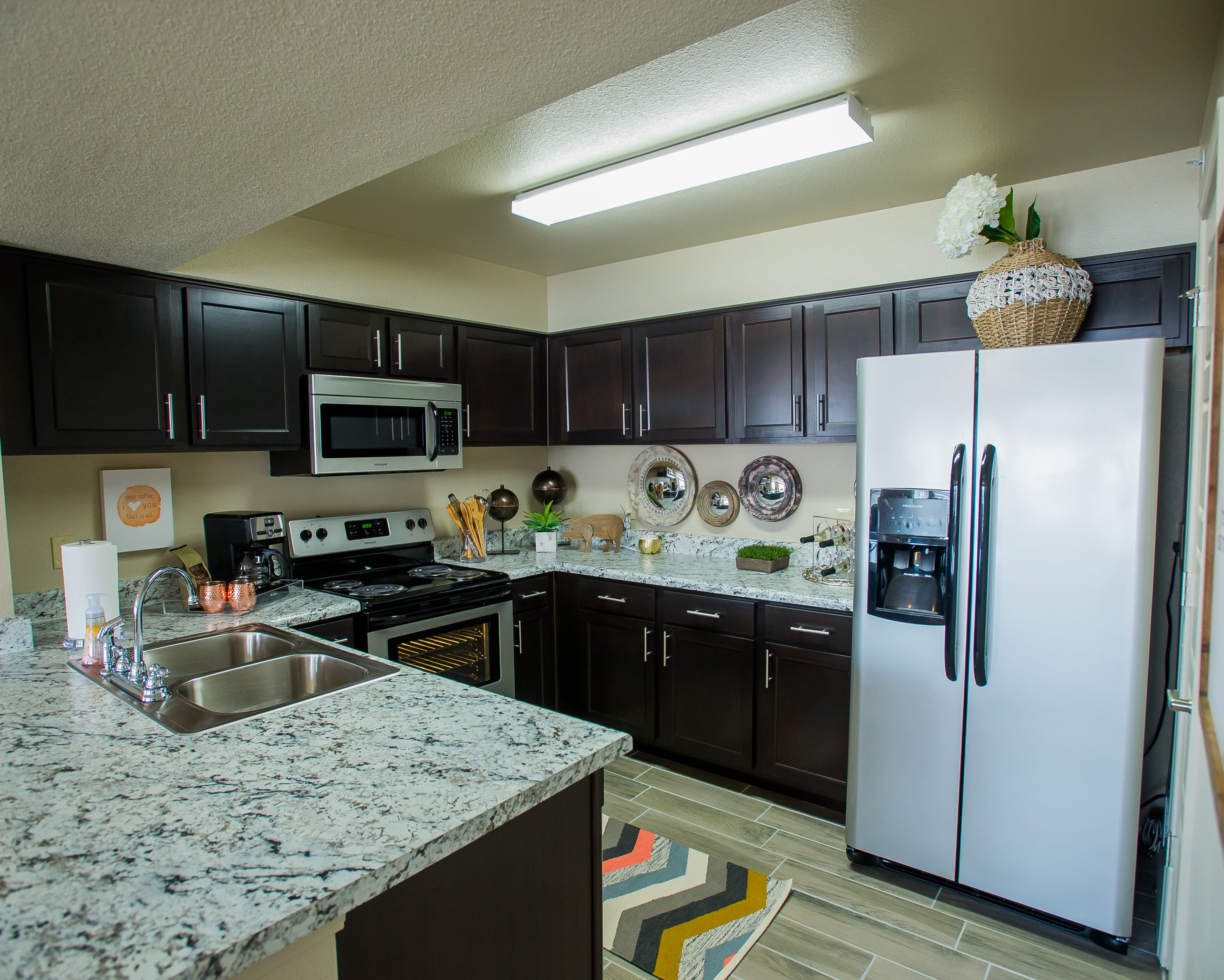 Modern kitchen at Portico at Friars Creek Apartments in Temple, Texas