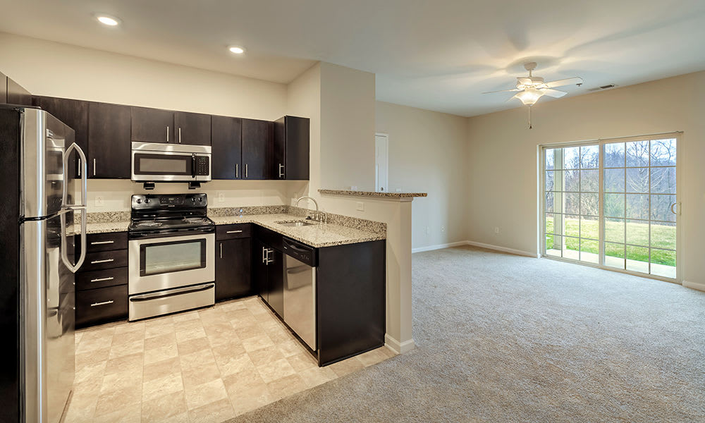 Large kitchen and living space at Reserve at Southpointe in Canonsburg, PA