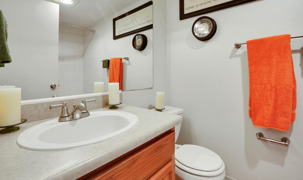 Beautiful bathroom at Broadmoor Ridge Apartment Homes in Colorado Springs, Colorado