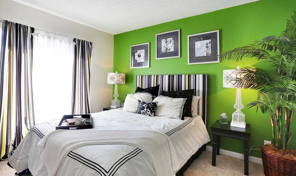 Beautiful  bed room at apartments in Colorado Springs, Colorado