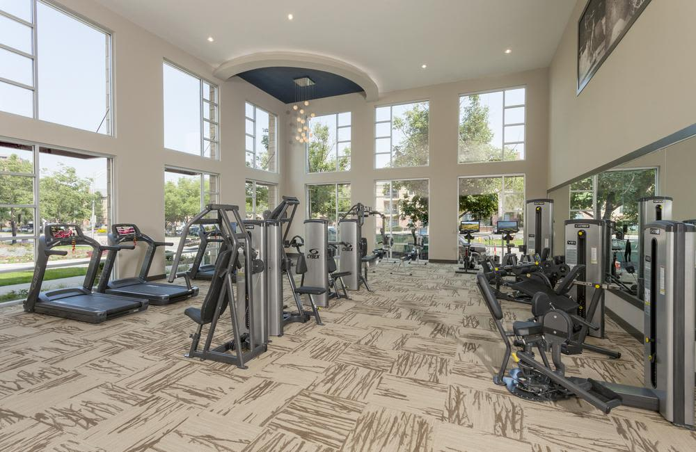 Beautiful fitness center at Solana Cherry Creek in Denver, Colorado