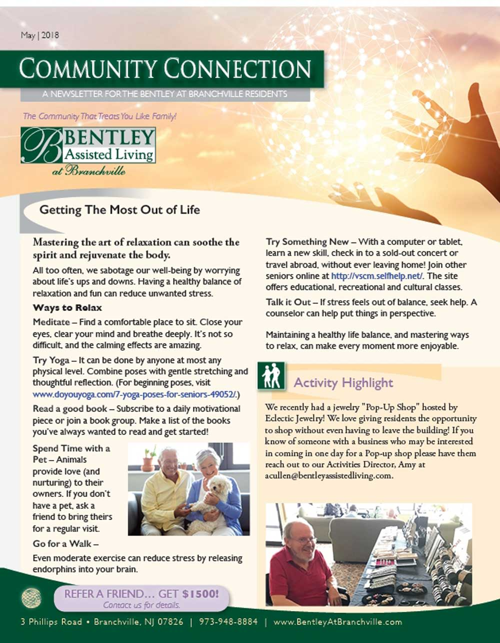 newsletters bentley assisted living at branchville