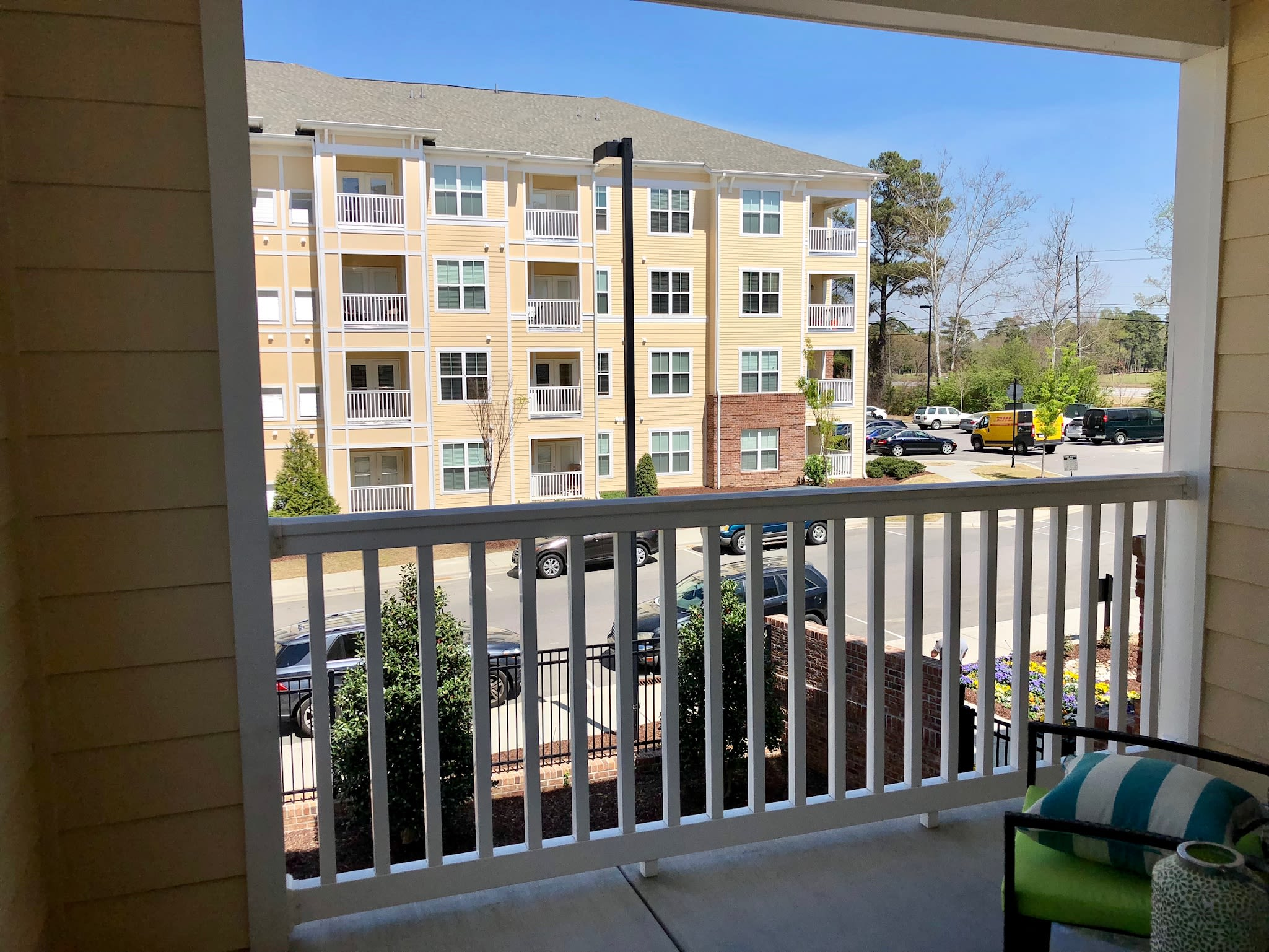 Balcony view at Level at 401 in Raleigh, North Carolina