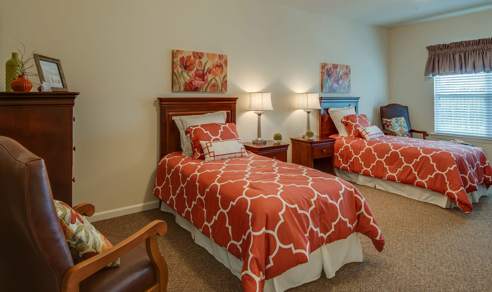 Assisted living apartment bedroom at Etheridge House Senior Living in Union City, Tennessee