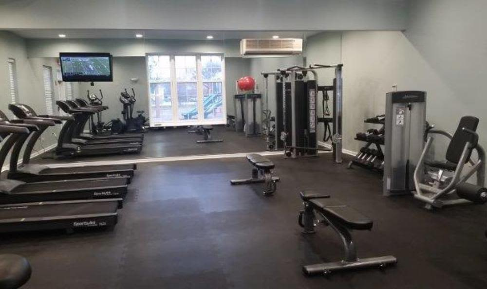 Fitness center at Mill Pond Village Apartments in Salisbury.