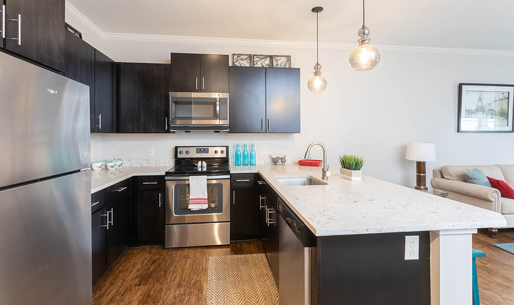 Kitchen area at apartments in Webster, NY