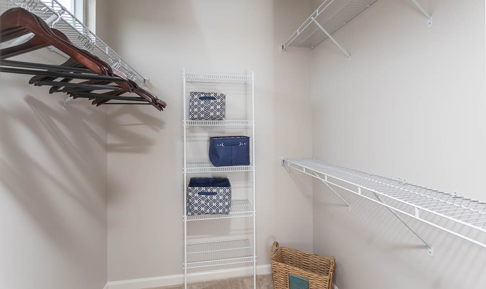 Walk in closet at North Ponds Apartments in Webster, NY
