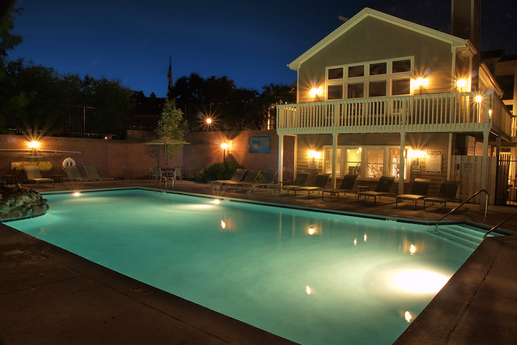 Illuminated pool at Mallard Landing Apartments