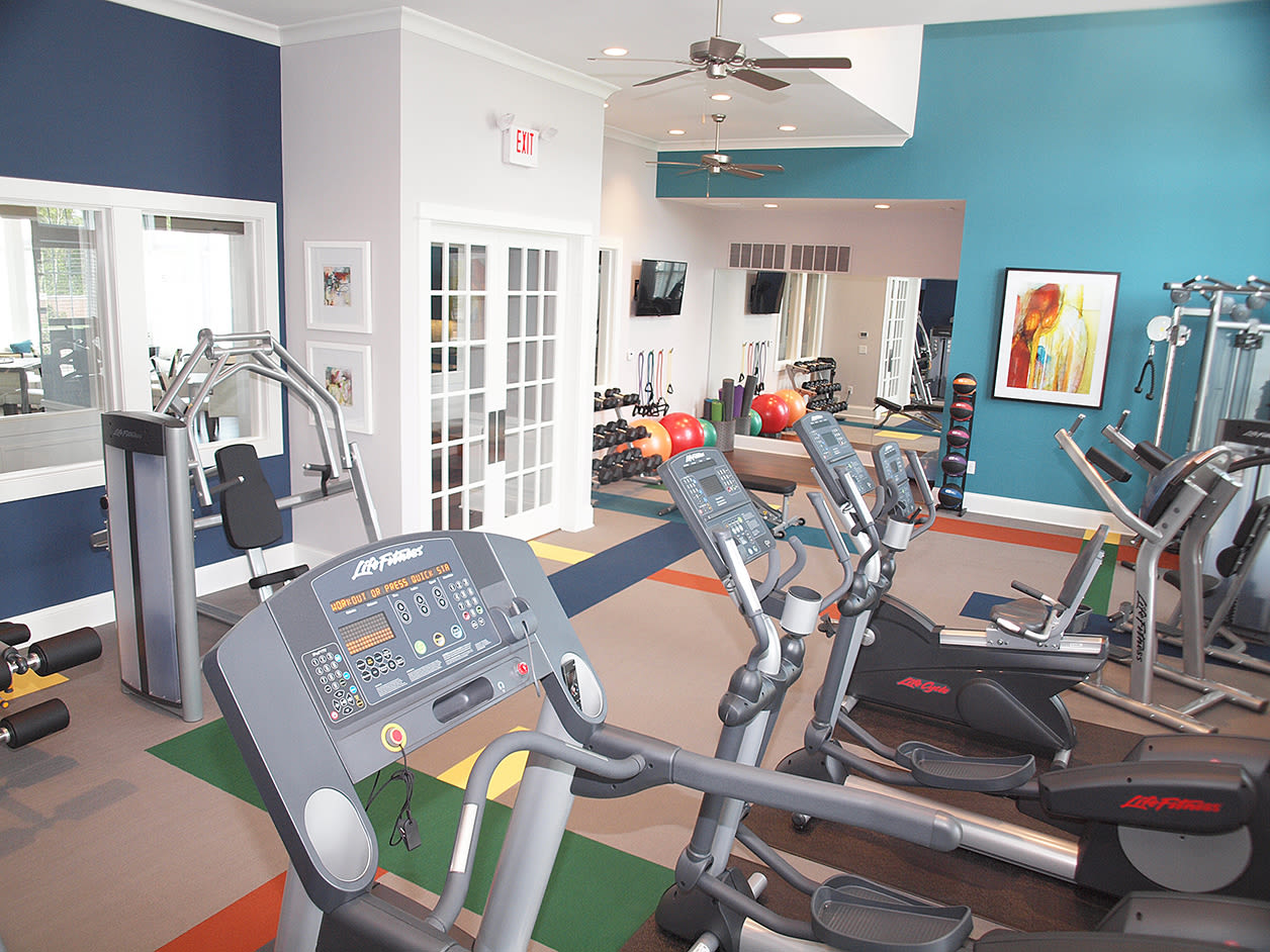 Fitness equipment at Meridian on Shelbyville in Louisville, Kentucky