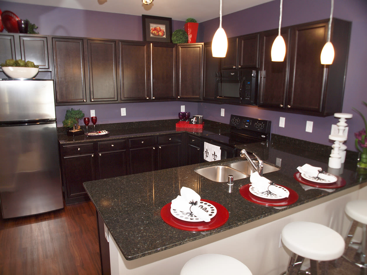 Modern kitchen with stainless steel appliances and lots of cabinets at Meridian on Shelbyville in Louisville, Kentucky