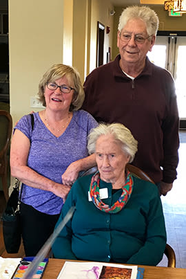 Pat and her friends at Clermotn Park's Adult Day program