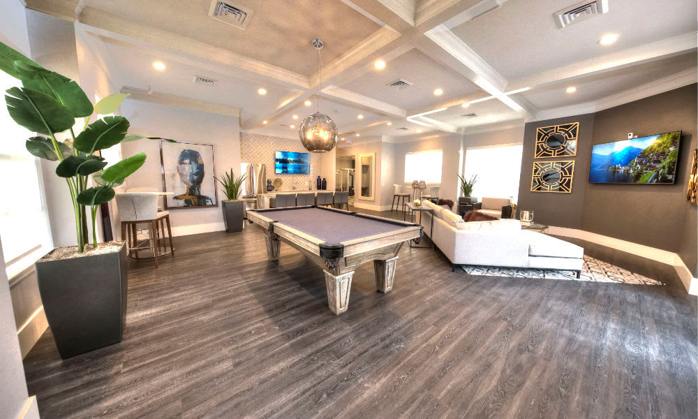 Pool table at the Preston Hollow Apartments clubhouse