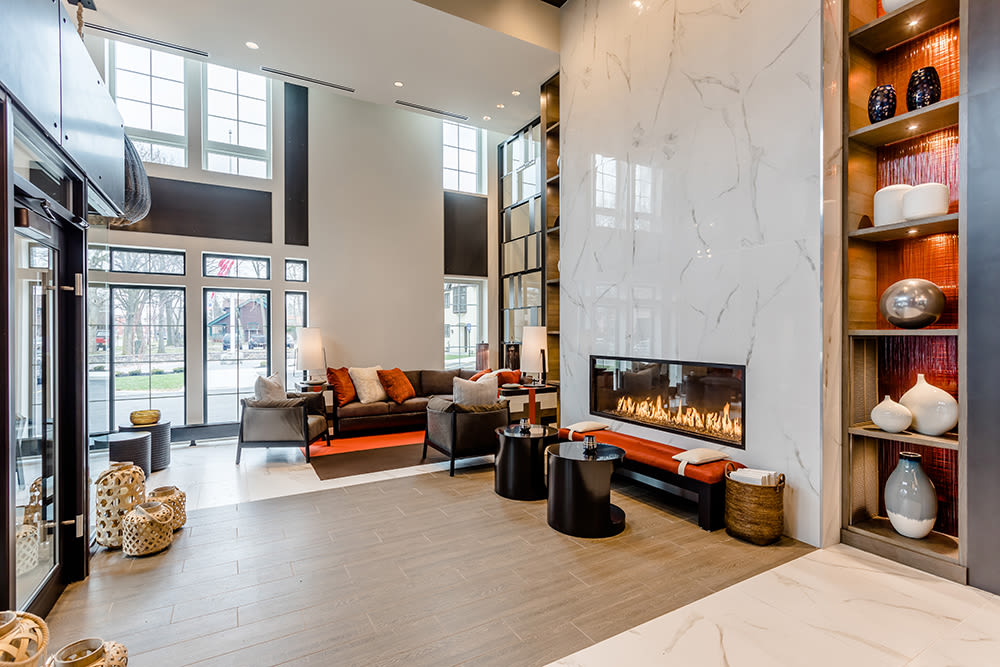 Spacious lobby at 933 the U in Rochester, New York