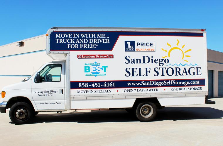 Sorrento Mesa Self Storage offers a FREE move-in truck with driver!