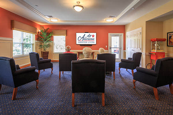 All American Assisted Living at Kingston offers a movie viewing room for their residents