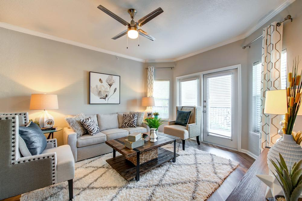 Beautiful Living room at The Gates at Buffalo Ridge Apartments in Haltom City, Texas