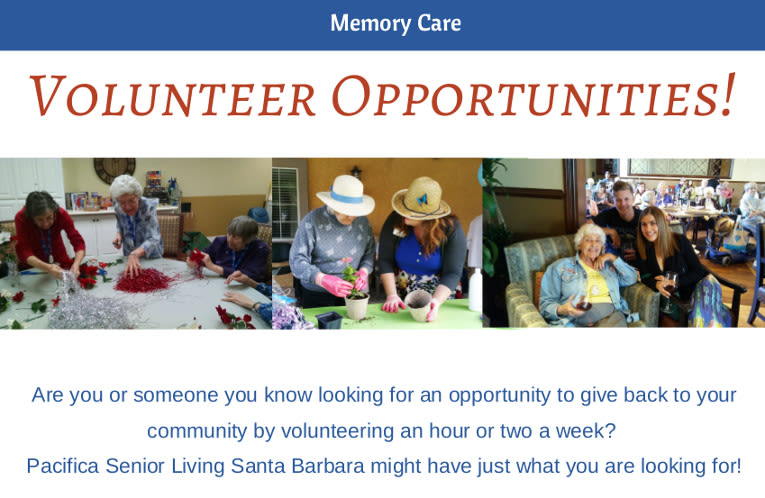 Volunteer opportunities at Pacifica Senior Living Santa Barbara
