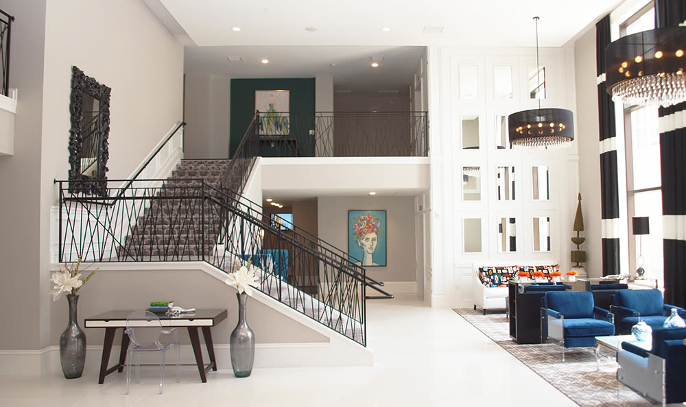 Stairwell and living room at 49Hundred