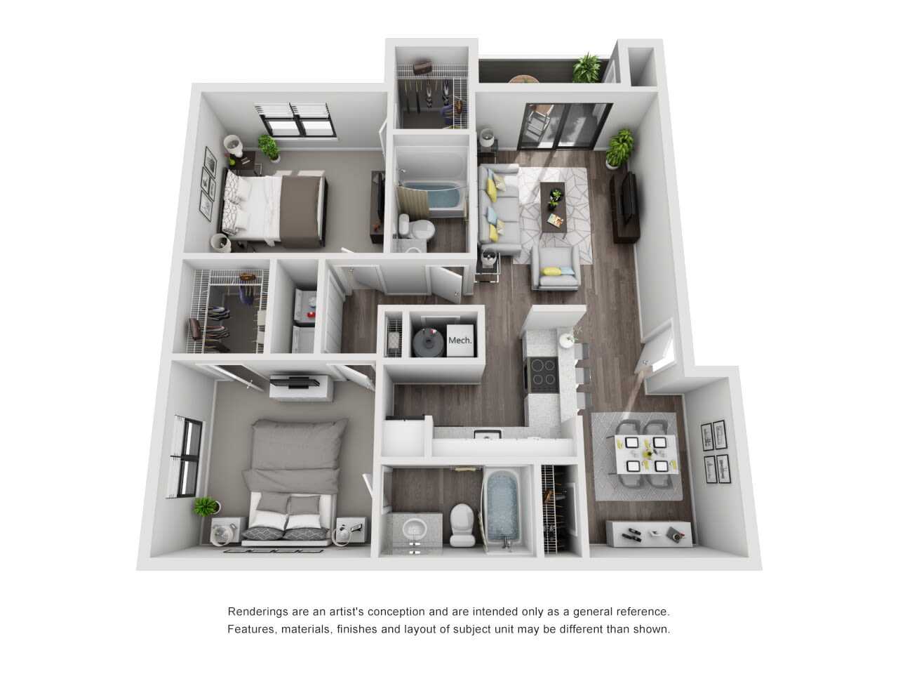 B1 2 bed 2 bath at The Alcove