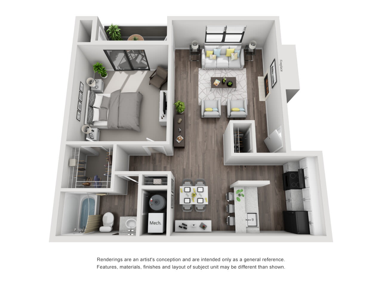 A4 1 bed 1 bath at The Alcove