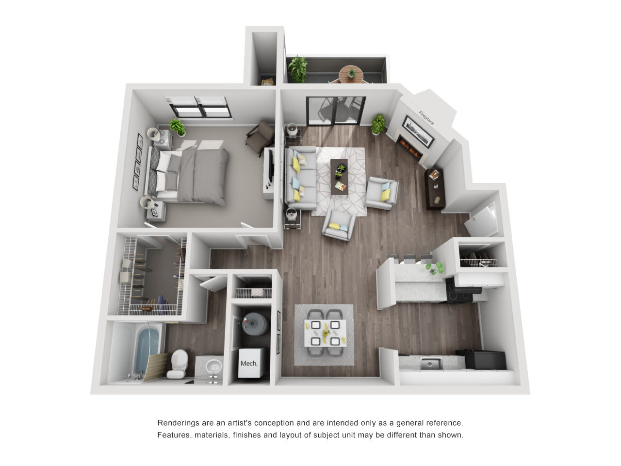 A2 1 bed 1 bath at The Alcove