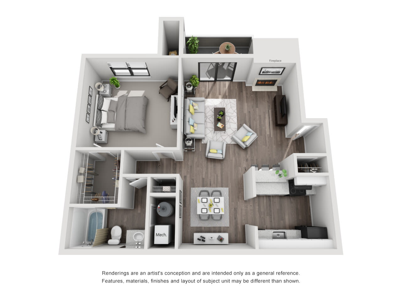A3 1 bed 1 bath at The Alcove