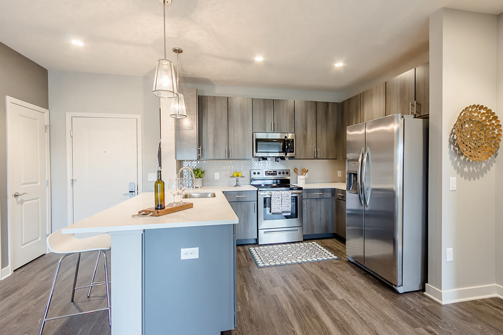 Modern kitchen at Ellison Heights Apartments in Penfield