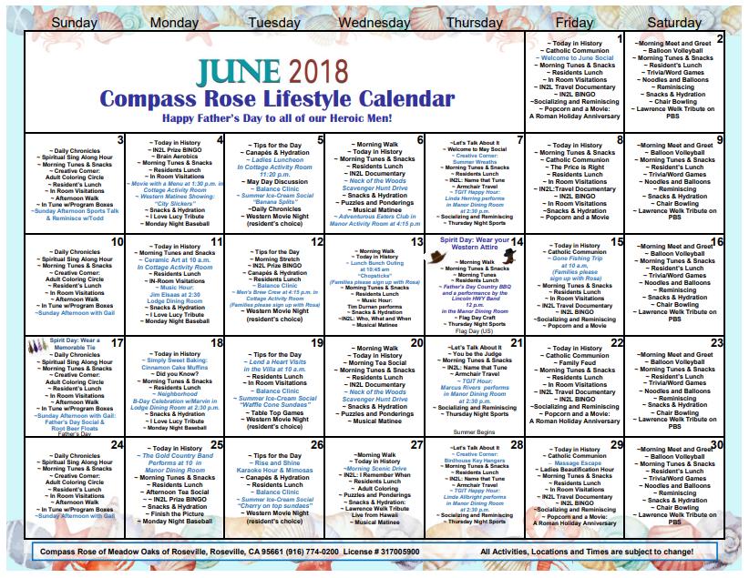 June CR Calendar