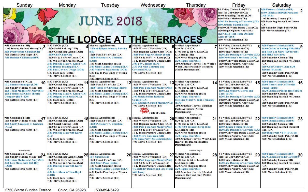 the lodge calendar june