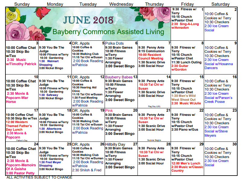 Assisted Living June Calendar