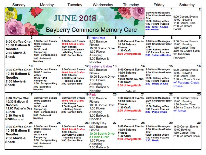 Memory Care June Calendar