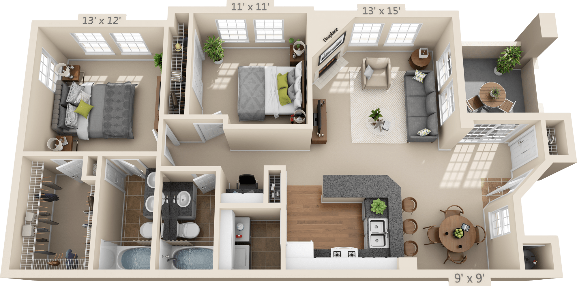 2 Bedroom Floor Plan - Taliesin