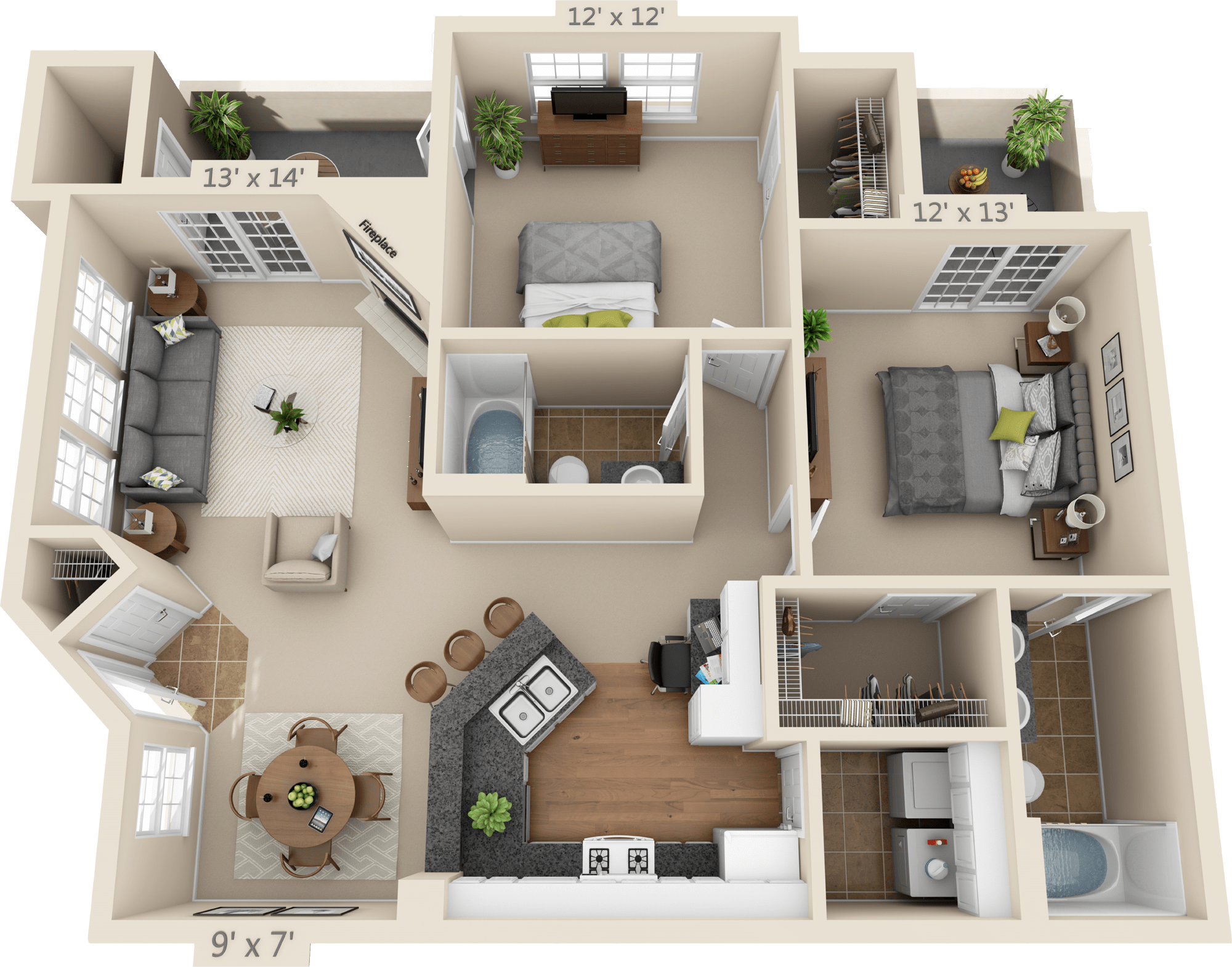 2 Bedroom Floor Plan - Rockford
