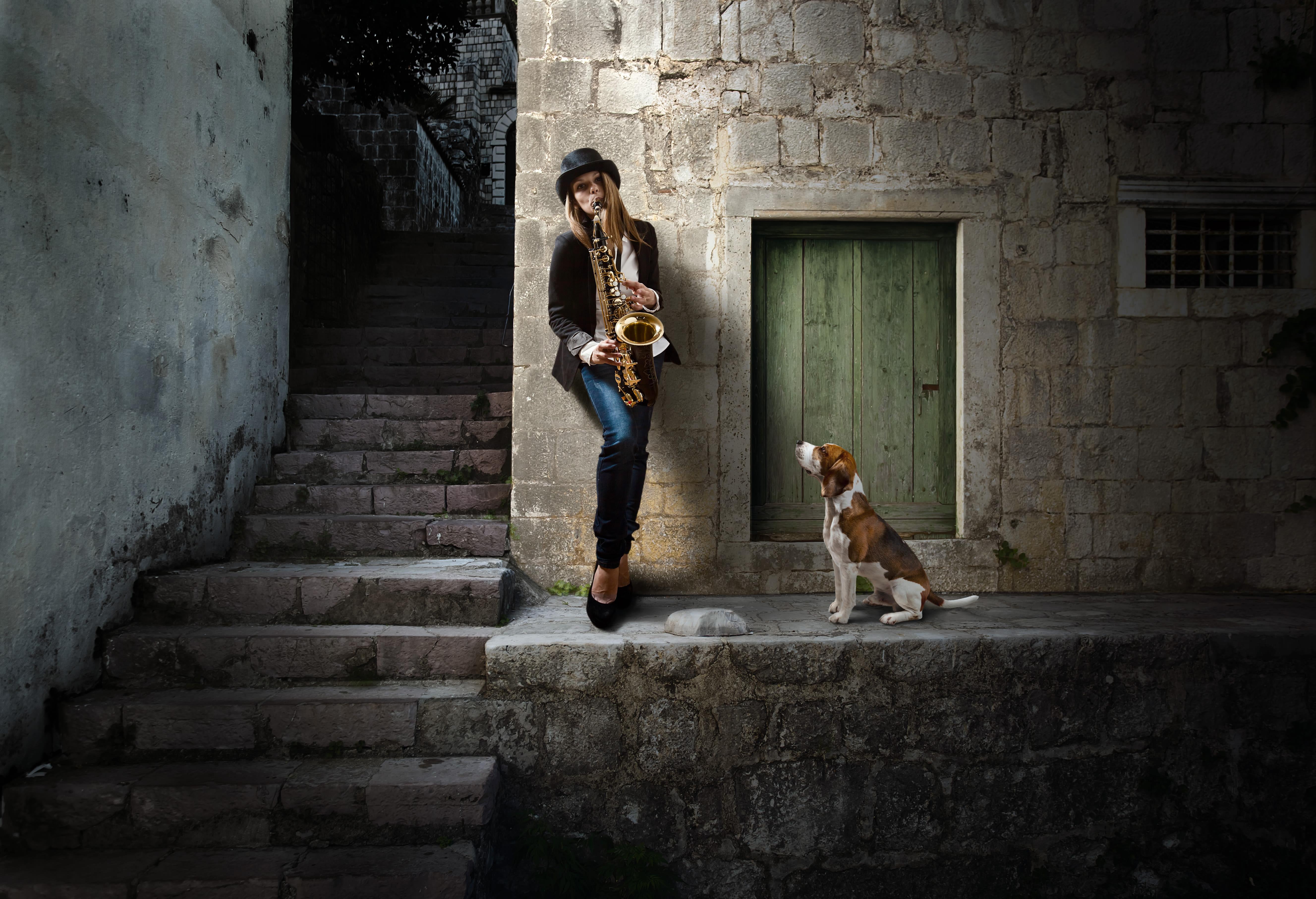 Woman playing the saxophone in Seattle, Washington