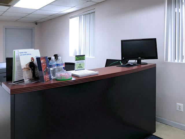 Office desk at Prime Storage leasing office in Farmingdale, New York