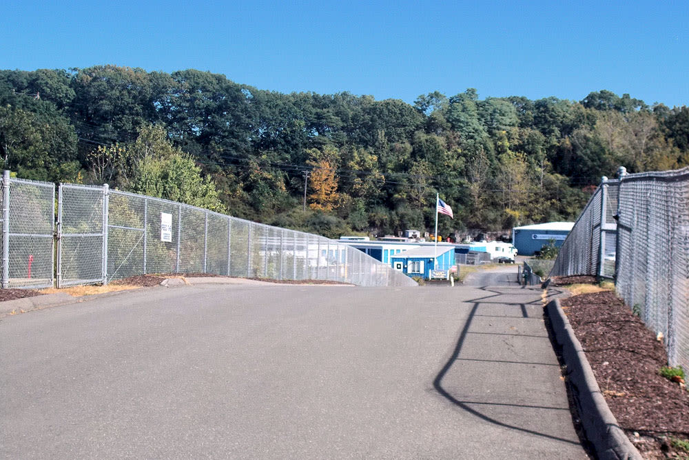Fenced driveway at Southington Super Storage in Plantsville, CT