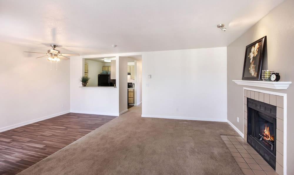 Carpeted living room in apartment at Mountlake Terrace, Washington