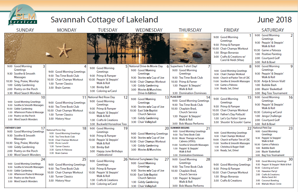 View our monthly calendar of events at Savannah Cottage of Lakeland