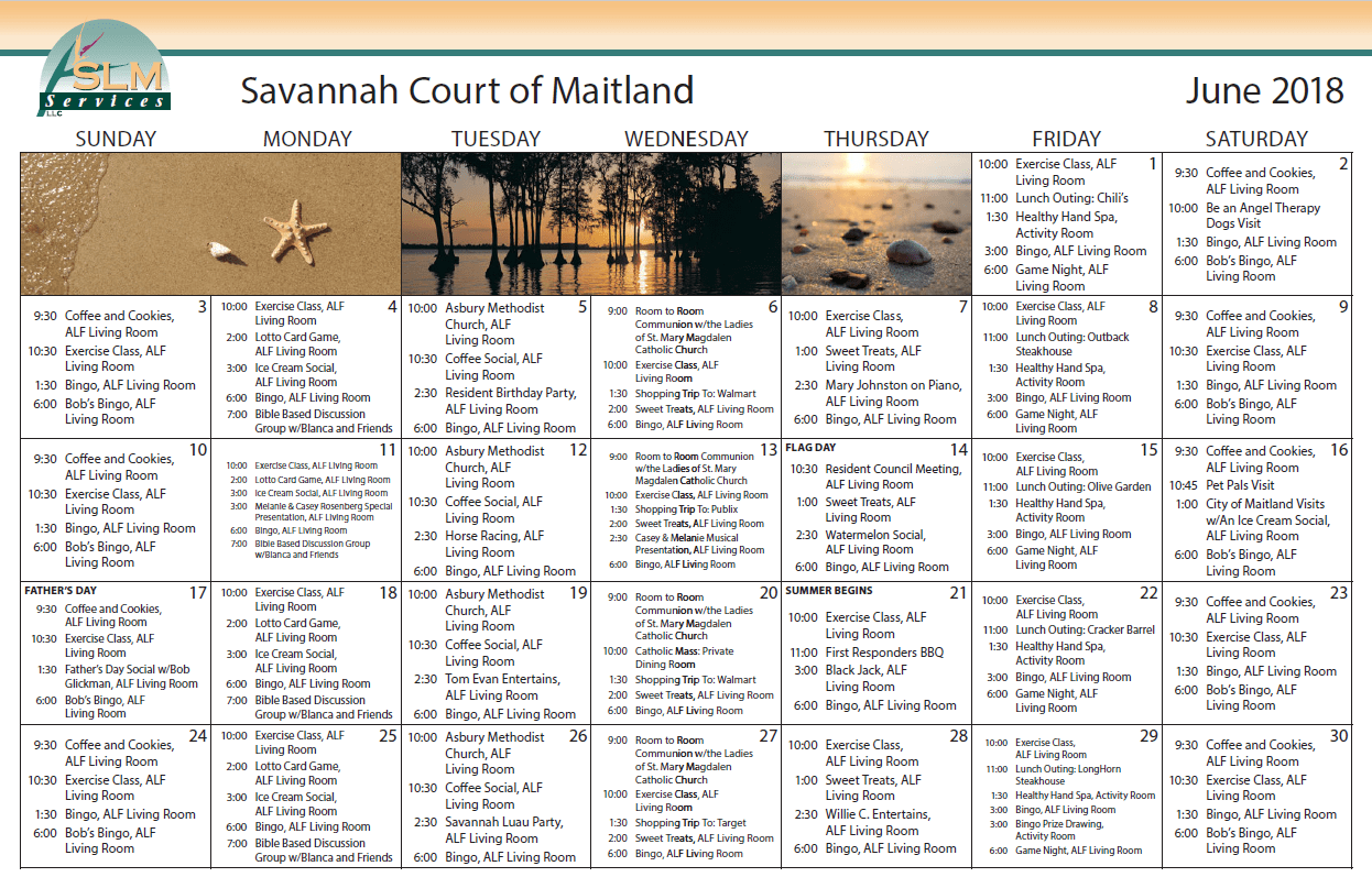 View our monthly calendar of events at Savannah Court of Maitland