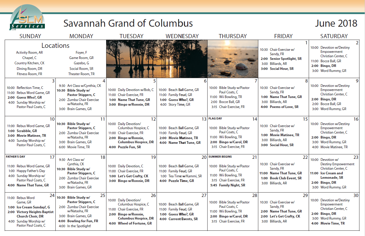 View our monthly calendar of events at Savannah Grand of Columbus